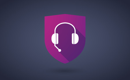 hands free phone: Illustration of a long shadow shield icon with  a hands free phone device Illustration