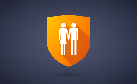 heterosexual: Illustration of a long shadow shield icon with a heterosexual couple pictogram