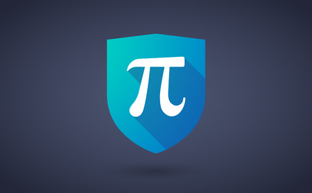 constant: Illustration of a long shadow shield icon with the number pi symbol Illustration
