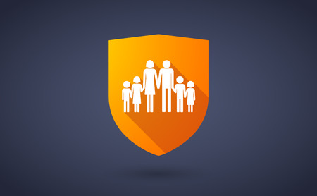Illustration of a long shadow shield icon with a large family  pictogram Illustration