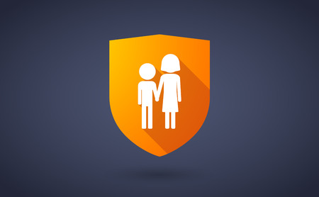 orphan: Illustration of a long shadow shield icon with a childhood pictogram