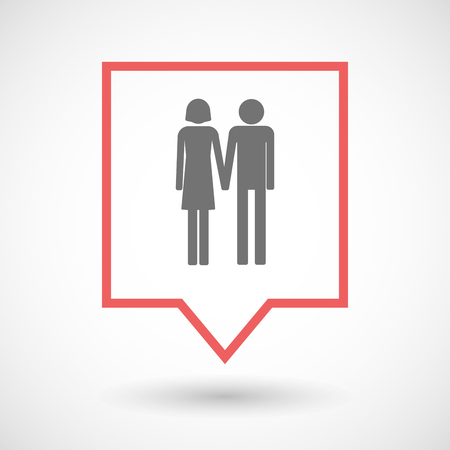 heterosexual couple: Illustration of an isolated tooltip line art icon with a heterosexual couple pictogram