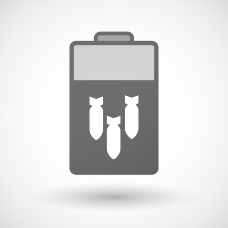 blank bomb: Illustration of an isolated battery icon with three bombs falling Illustration