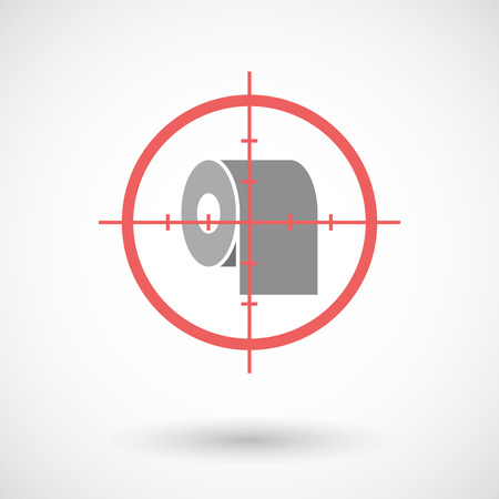 paper roll: Illustration of a red crosshair icon targeting a toilet paper roll Illustration