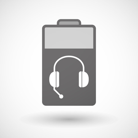hands free phone: Illustration of an isolated battery icon with  a hands free phone device