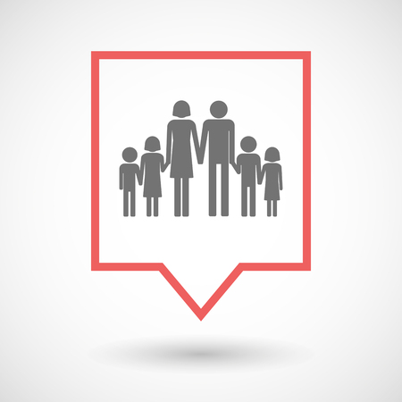 large family: Illustration of an isolated tooltip line art icon with a large family  pictogram