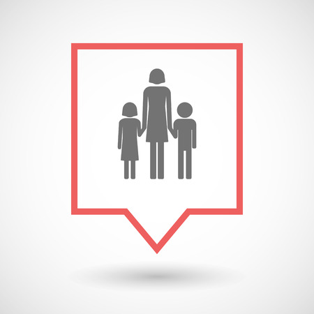single parent: Illustration of an isolated tooltip line art icon with a female single parent family pictogram