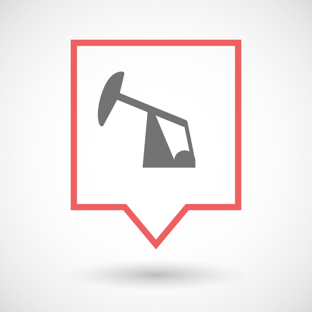 horsehead pump: Illustration of an isolated tooltip line art icon with a horsehead pump