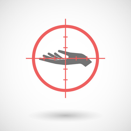 Illustration of a red crosshair icon targeting a hand offering