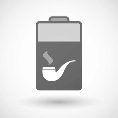 pipe smoking: Illustration of an isolated battery icon with a smoking pipe Illustration