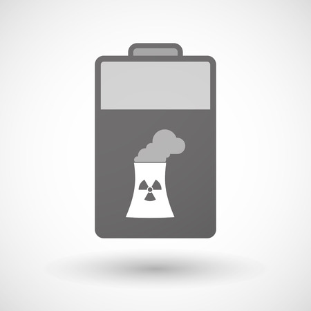 cooling tower: Illustration of an isolated battery icon with a nuclear power station