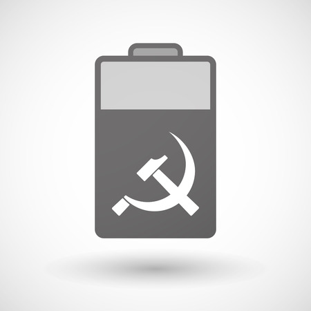 communist: Illustration of an isolated battery icon with  the communist symbol