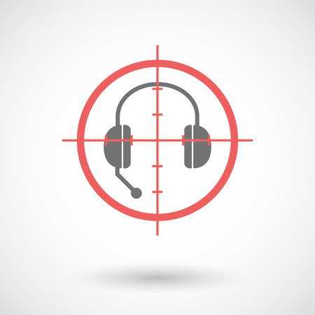 hands free: Illustration of a red crosshair icon targeting  a hands free phone device Illustration