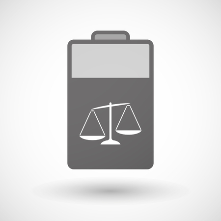 tribunal: Illustration of an isolated battery icon with  an unbalanced weight scale