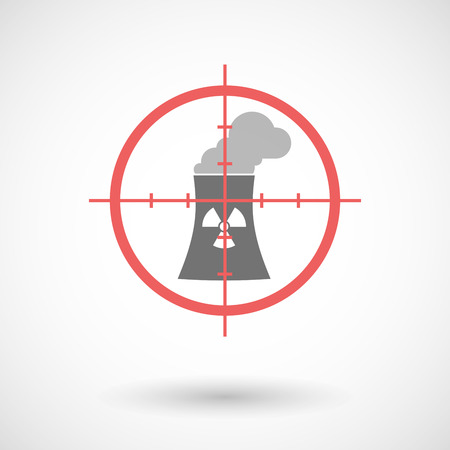 nuclear weapons: Illustration of a red crosshair icon targeting a nuclear power station