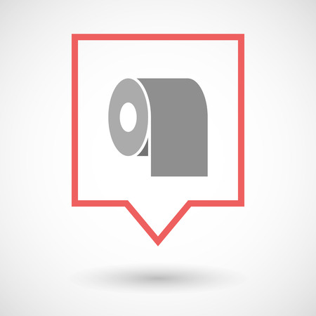 toilet paper art: Illustration of an isolated tooltip line art icon with a toilet paper roll