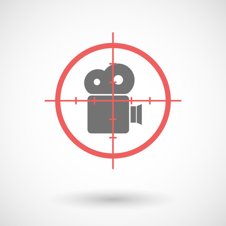 camera film: Illustration of a red crosshair icon targeting a film camera