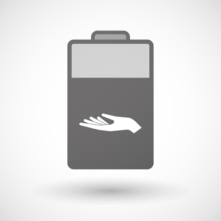 take charge: Illustration of an isolated battery icon with a hand offering
