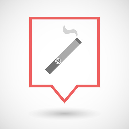 Illustration of an isolated tooltip line art icon with an electronic cigarette