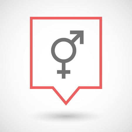 trans gender: Illustration of an isolated tooltip line art icon with a transgender symbol Illustration