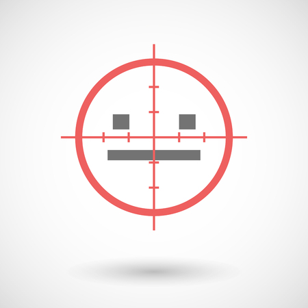 emotionless: Illustration of a red crosshair icon targeting a emotionless text face