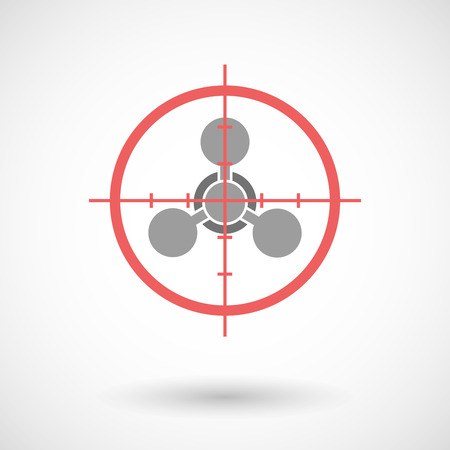 chemical weapon sign: Illustration of a red crosshair icon targeting a chemical weapon sign Illustration