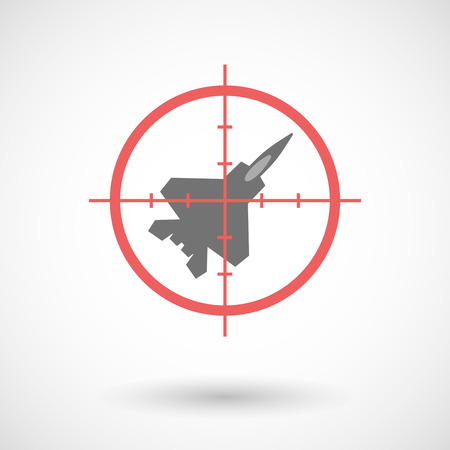 combat: Illustration of a red crosshair icon targeting a combat plane