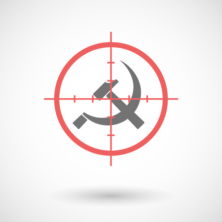 communist: Illustration of a red crosshair icon targeting  the communist symbol Illustration