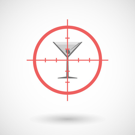 cross bar: Illustration of a red crosshair icon targeting a cocktail glass Illustration