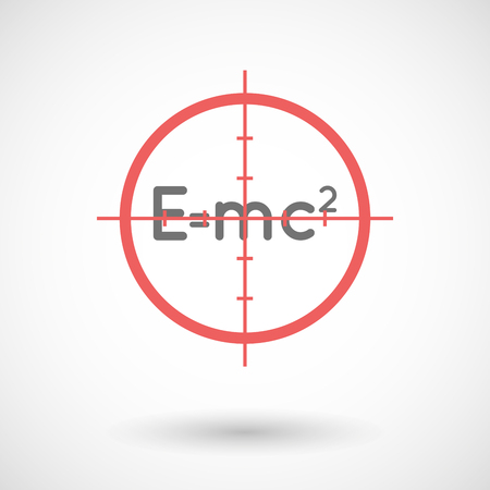 theory: Illustration of a red crosshair icon targeting the Theory of Relativity formula Illustration