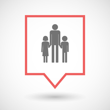single parent family: Illustration of an isolated tooltip line art icon with a male single parent family pictogram