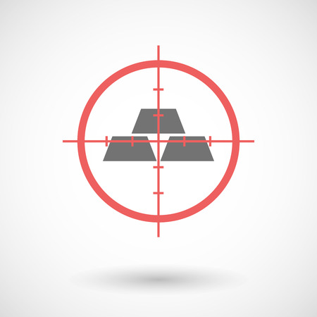 sniper crosshair: Illustration of a red crosshair icon targeting three gold bullions