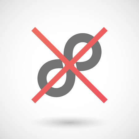denial: Illustration of an isolated not allowed cross icon with an infinite sign Illustration