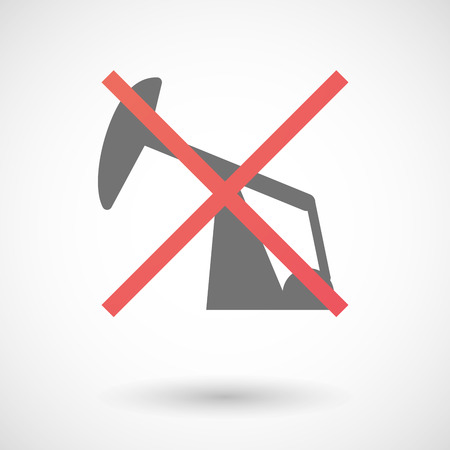denial: Illustration of an isolated not allowed cross icon with a horsehead pump
