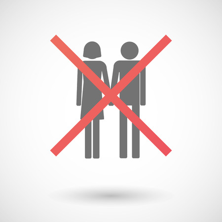 heterosexual couple: Illustration of an isolated not allowed cross icon with a heterosexual couple pictogram