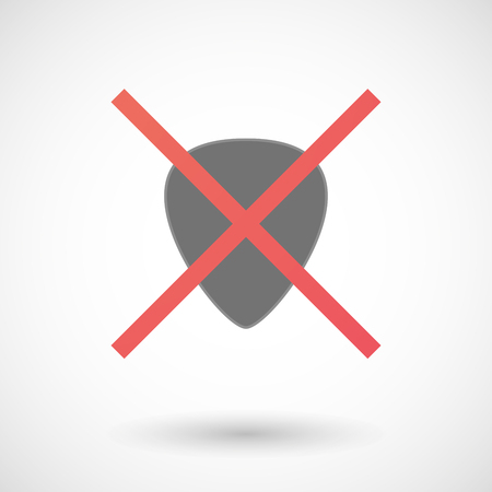 plectrum: Illustration of an isolated not allowed cross icon with a plectrum