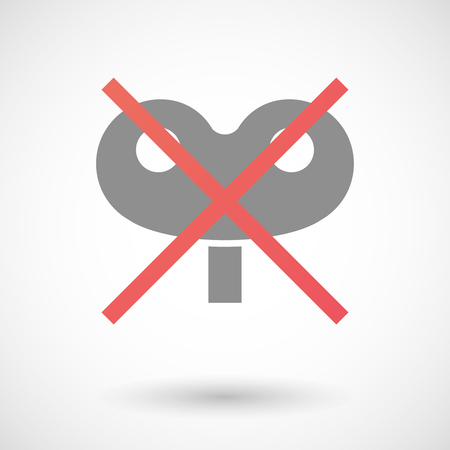 negation: Illustration of an isolated not allowed cross icon with a toy crank