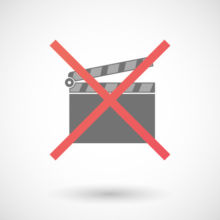 negation: Illustration of an isolated not allowed cross icon with a clapperboard Illustration
