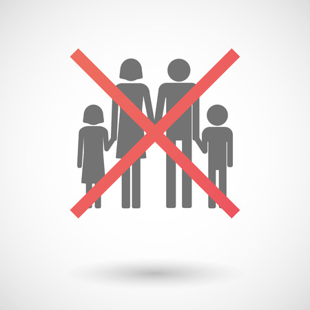 negation: Illustration of an isolated not allowed cross icon with a conventional family pictogram
