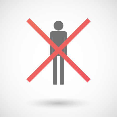 denial: Illustration of an isolated not allowed cross icon with a male pictogram Illustration