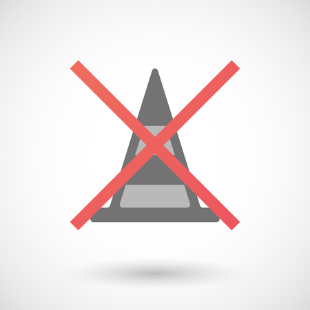 cross road: Illustration of an isolated not allowed cross icon with a road cone Illustration