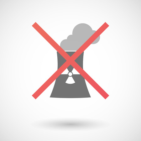 power station: Illustration of an isolated not allowed cross icon with a nuclear power station