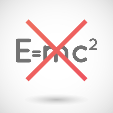 Illustration of an isolated not allowed cross icon with the Theory of Relativity formula