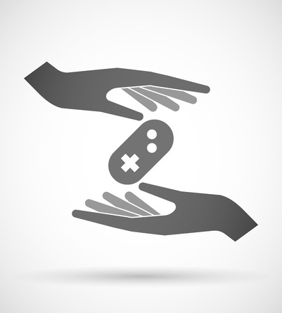 game pad: Illustration of wo hands protecting or giving a game pad