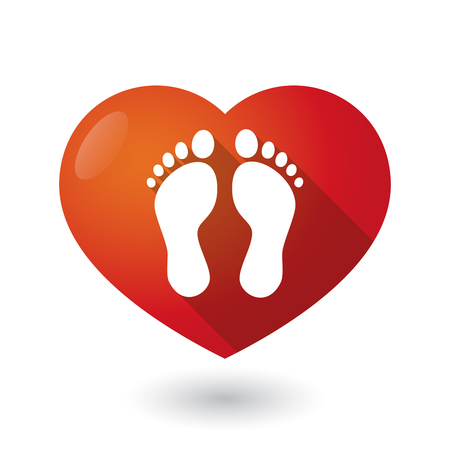 healthy people: Illustration of an isolated red heart with two footprints Illustration