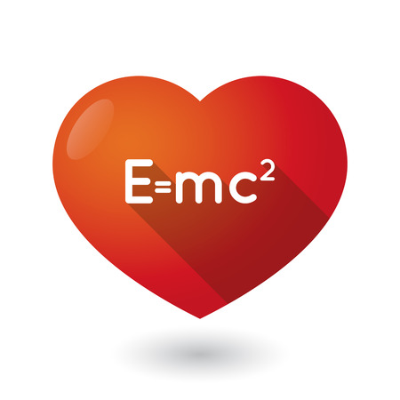 the theory of relativity: Illustration of an isolated red heart with the Theory of Relativity formula