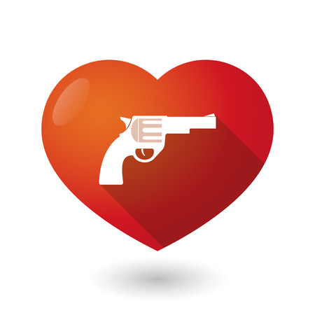 seduce: Illustration of an isolated red heart with a gun