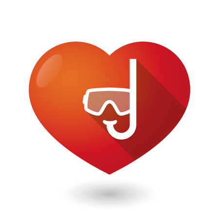 seduce: Illustration of an isolated red heart with a diving goggles Illustration