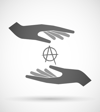 anarchy: Illustration of wo hands protecting or giving an anarchy sign Illustration