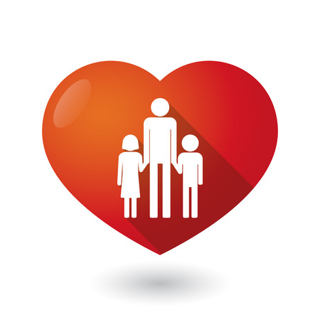single parent: Illustration of an isolated red heart with a male single parent family pictogram